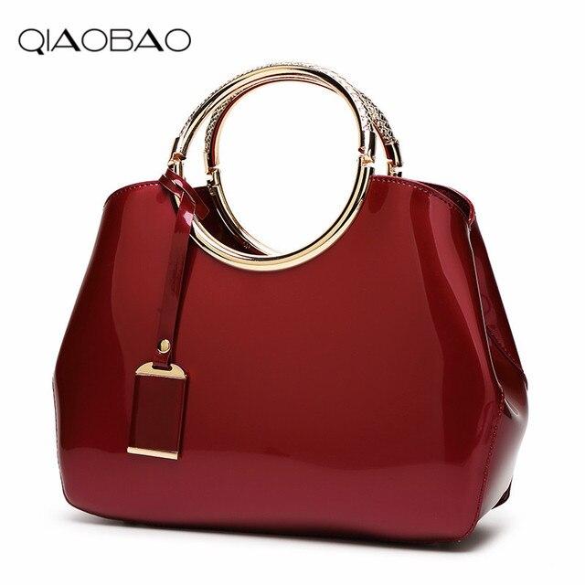 12bbe7a9214b2 QIAOBAO Marke frauen Lackleder Umhängetasche Luxus Handtaschen Frauen  Taschen Weibliche Tote Neue Designer