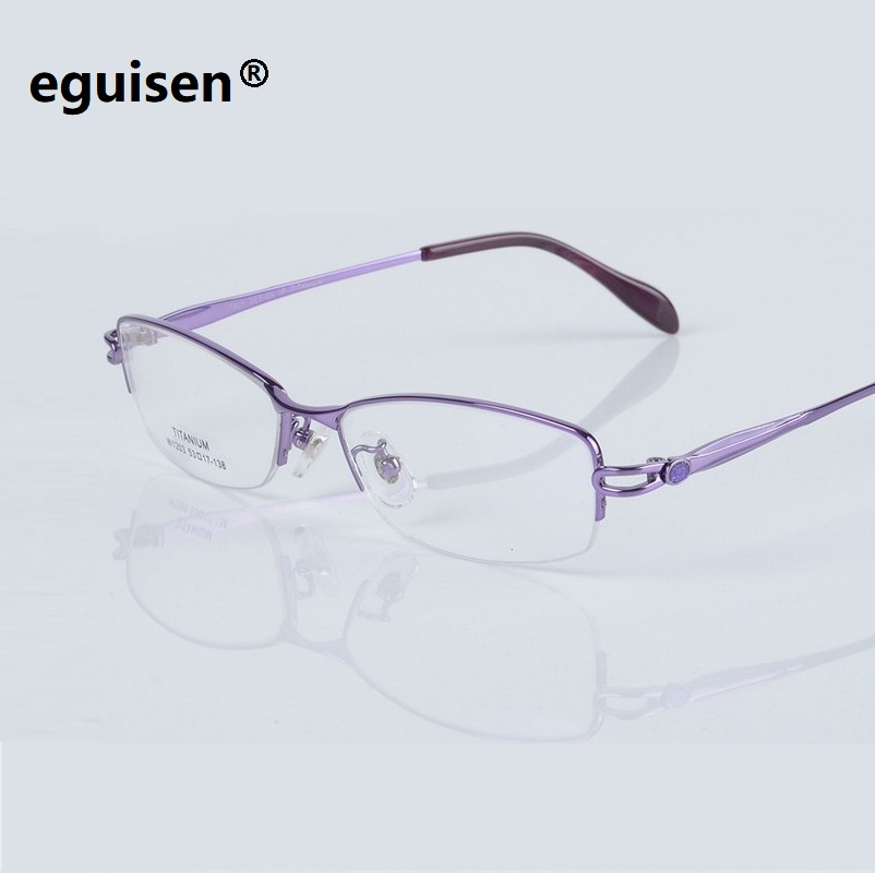 Width 138 Titanium female glasses frame women new ultra light half rim optical prescription Myopia reading