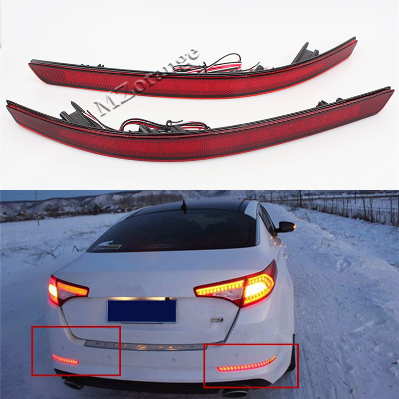 Car Styling For Kia Optima K5 2011 2012 2013 Red Brake Tail Light LED Red Rear Bumper Reflector Lights Warning Stop Tail Fog