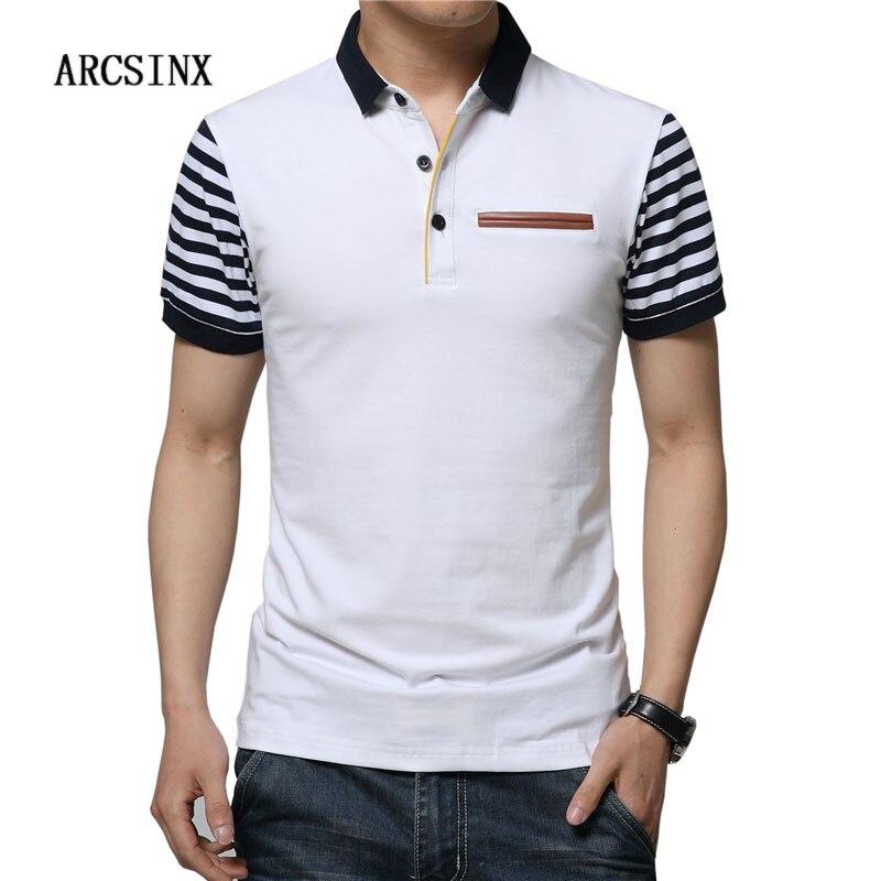 ARCSINX Slim Fit Polo Shirt Men Plus Size 5XL 4XL 3XL Cotton Polo Men Polo Shirt Big Size Casual Short Sleeve Summer Men Polos