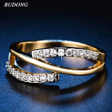BUDONG Hot Sparkling Stackable Ring Micro Pave CZ for Women Wedding Jewelry Authentic Rings Gift for Girl Friend XUR576