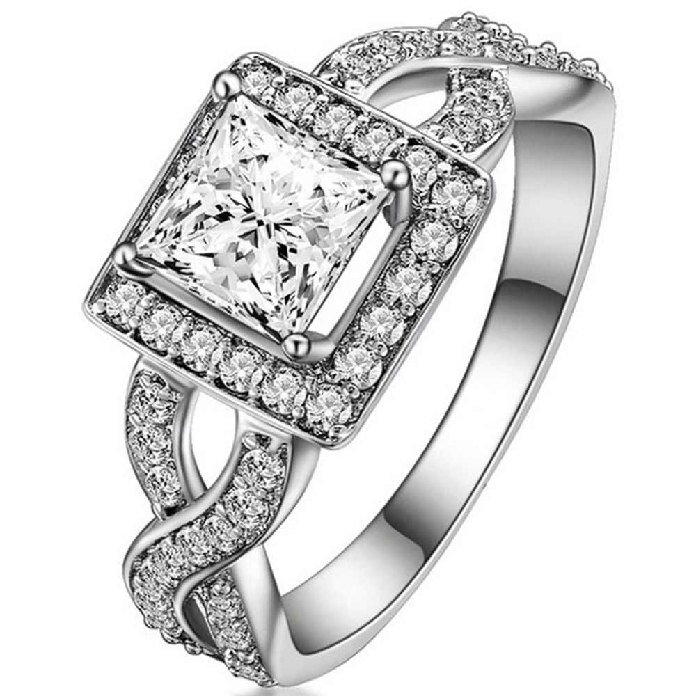 Jude Jewelers Retro Vintage Stainless Steel Rose Flower Cubic Zircon Statement Promise Anniversary Ring