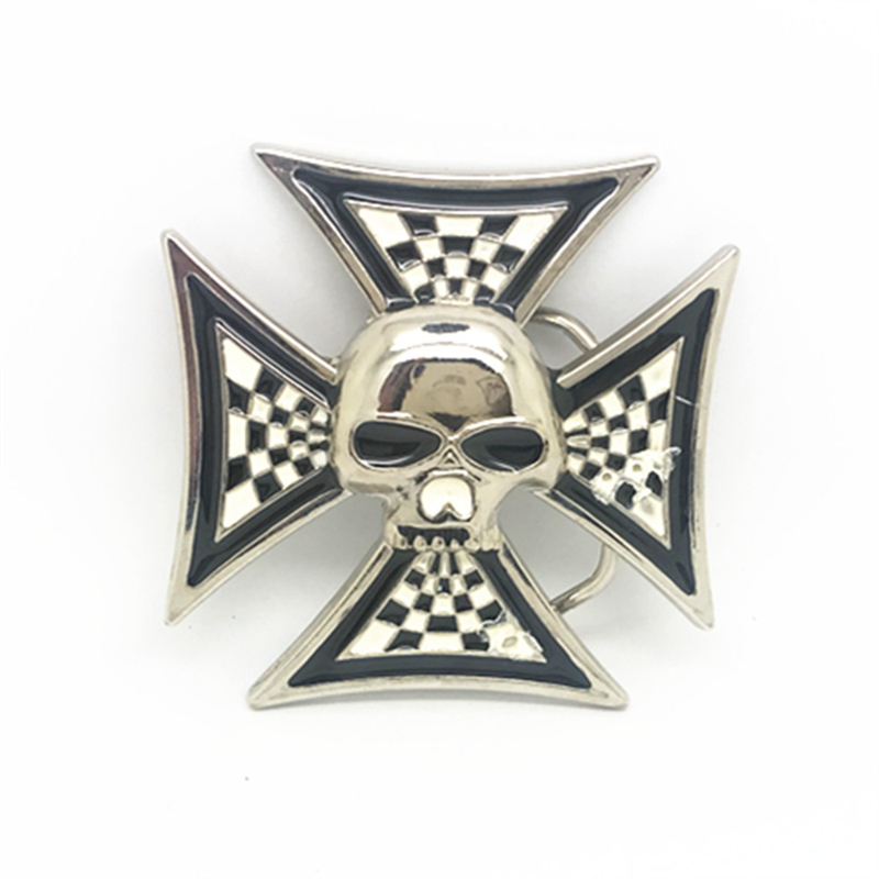 Plating Bright Cross Skull Belt Buckle Metal Belt Clip Belt Accessories