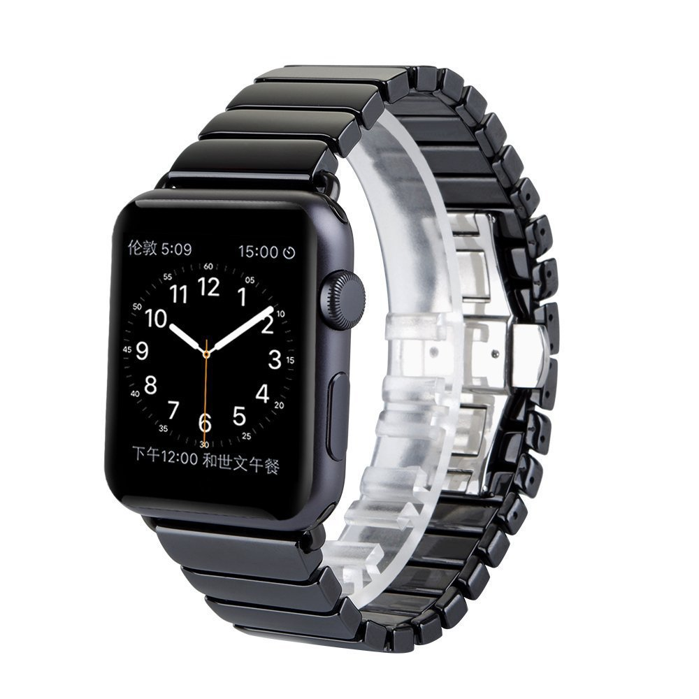 Luxury Ceramic Band for Apple Watch 42mm 38mm Band Ceramic Butterfly buckle Smooth Bracelet Belt for Iwatch strap 3 2 1 Series smart watch bracelet ceramic watch band for apple watch 38mm 42mm watchband butterfly buckle wristwatch strap belt not fade