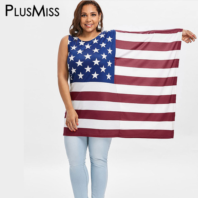 c236d813db8 PlusMiss Plus Size 5XL XXXXL XXXL American Flag USA Print Long Blouse Women  Clothing Big Size