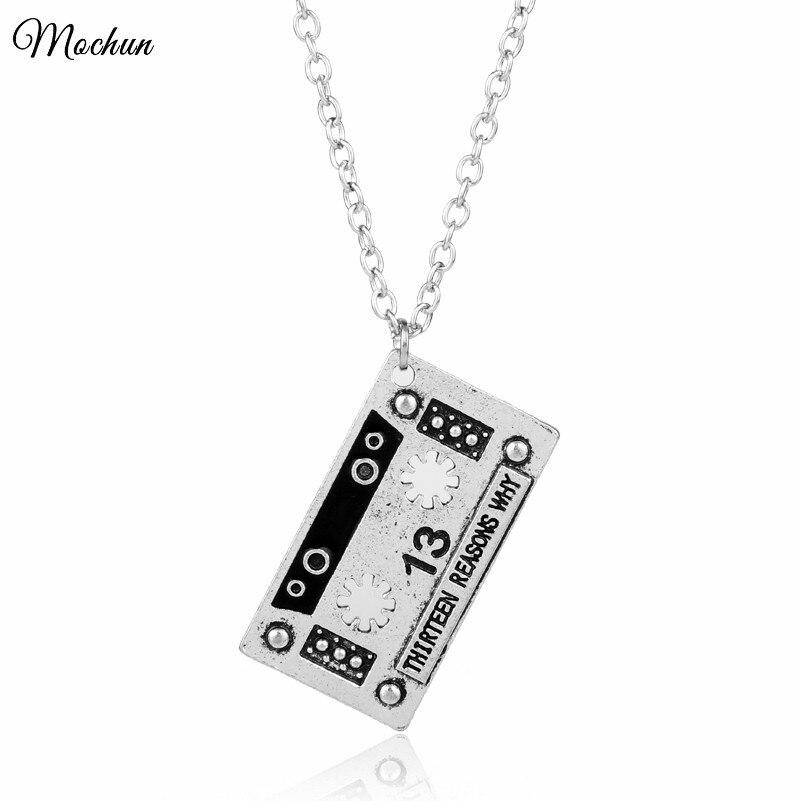 Mqchun vintage treze razões porque fita de áudio pingente colar 13 razões por que fita cassete silvertone metal corrente colar