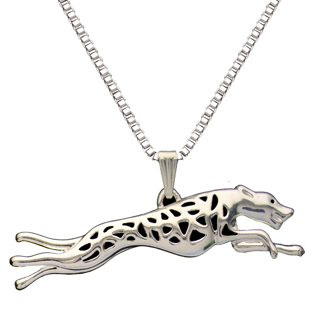 greyhound run dog pendant necklaces silver plated animal charm christmas gifts for dog lovers women dog