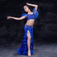 Новый Класс дети Обувь для девочек Oriental Одежда для танцев наряды хороший Топы корректирующие и юбка танец живота комплект костюмы для детей...