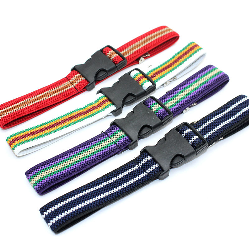 Awaytr Children's Boys Plastic Buckle Belt For Kids Adjustable Length Striped Outdoor Canvas Simple Belt 11 Colors 60*2.5cm