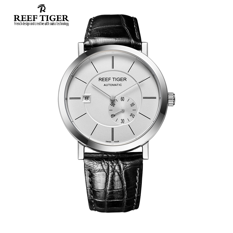 Reef Tiger/RT Business Automatic Watches for Men Ultra Thin Stainless Steel Watch with Date Waterproof Watch RGA161 yn e3 rt ttl radio trigger speedlite transmitter as st e3 rt for canon 600ex rt new arrival
