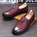 Nueva Llegada Del Verano Hombres Holgazanes Casuales zapatos de Cuero resistente al desgaste Transpirable Slip On Pisos estilo Coreano zapatos de Tendencia 022