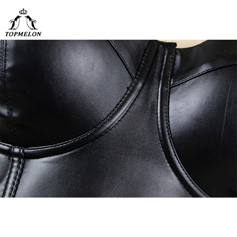 TOPMELON Sexy Tops Punk Corset Bustier Corselet Gothic Slimming Shapewear Black Leather Party Shows Club Crop Vest Bra Tops