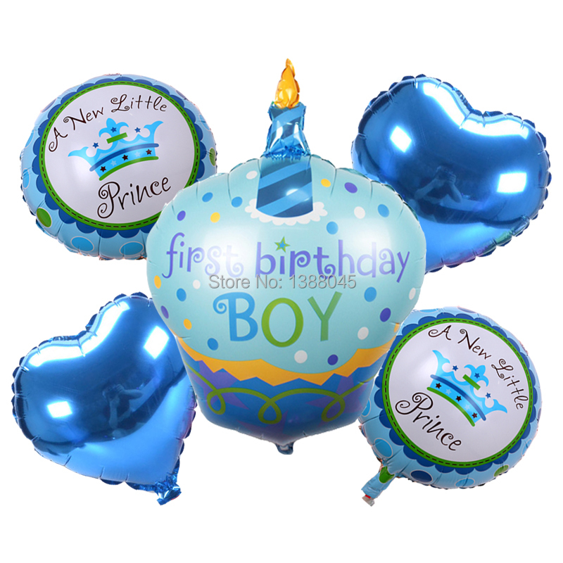 5pcs first birthday boy girl helium foil balloons happy for Balloon decoration for birthday boy