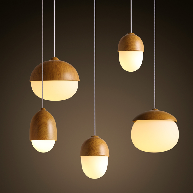 Nordic Modern Minimalist Warm Nuts Glass Wood Like Globle Pendant Light E27  Bulb Coffee Bar Wooden