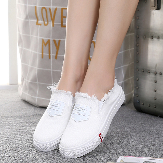 Haolida 2017 Autumn New Canvas Shoes Ladies Korean Version Of The Tide Stripe Shallow Mouth Flat Shoes Wome Casual Shoes