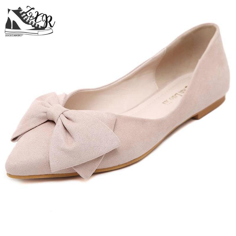 Lady Ballet Flats Sweet Bow Pointy Toe Women s Flats Solid Flock Ballerina  Flat Shoes Plus Size Woman Shoes 43 7806dec58302