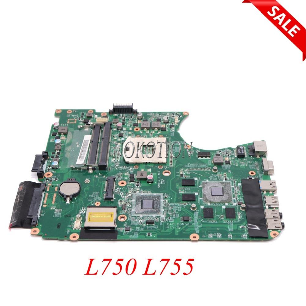 NOKOTION DABLBDMB8E0 A000080820 Laptop Motherboard For toshiba satellite L750 L755 HM65 DDR3 GeForce GT525M graphics Main board nokotion dablbdmb8e0 a000080820 for toshiba satellite l750 l755 laptop motherboard hm65 ddr3 gt525m 1gb