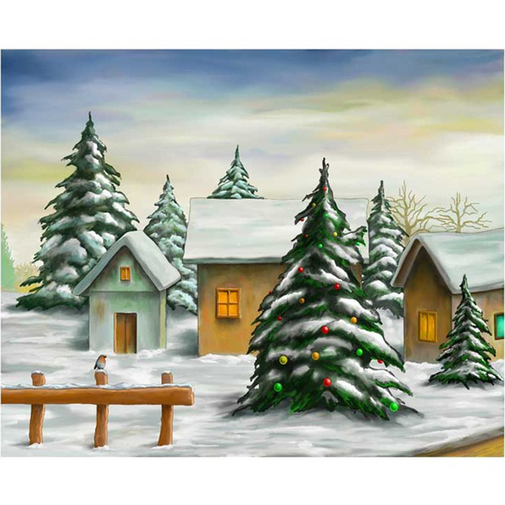 Hot Sale Oil Painting Village Baby Kids Christmas Background Printed ...
