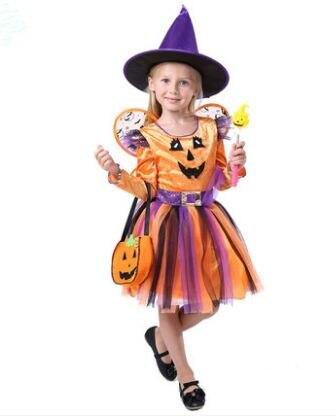 Strega di halloween costume per le ragazze vestito di halloween per bambini  arancione strega vestito costume divertente per le ragazze costume della  zucca ... 0ee6bdeed810