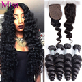 7A Peruvian Virgin Hair Loose Wave With Silk Base Closure 4 Bundles Peruvian Loose Wave Human Hair With 4x4 Silk Base Closures