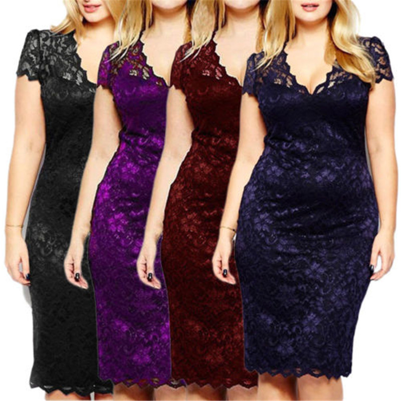Drop Shipping Womens  Lace Midi Dresses V-neck Short Sleeve Party Dress Plus Size