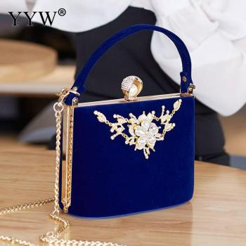 YYW Crystal Clutches Bag Party purse Women Evening Bags Handbag crossbody messenger bags wedding Fashion Designer Chain 2019 Red