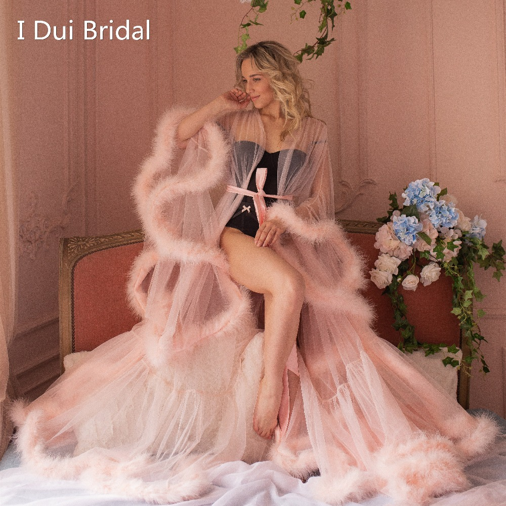 Blush Pink Feather Bridal Robe Tulle Illusion Wedding Gift Ceremony Party Wear Dressing Gown