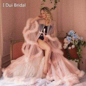 Image 1 - Марабу халат с румянами и розовыми перьями, Свадебный халат из тюля, иллюзия, свадебный подарок, одежда для церемонии, вечерний Халат