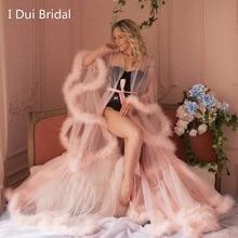 Marabou Robe Blush rose plume Robe de mariée Tulle Illusion cadeau de mariage cérémonie tenue de fête Robe de chambre