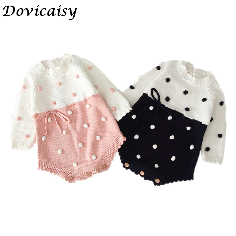 Autumn Baby Knitted   Rompers   Sweater Baby Girl Long-sleeve Knitted Infant Girl Princess Cotton Clothes Dot Baby boys clothes
