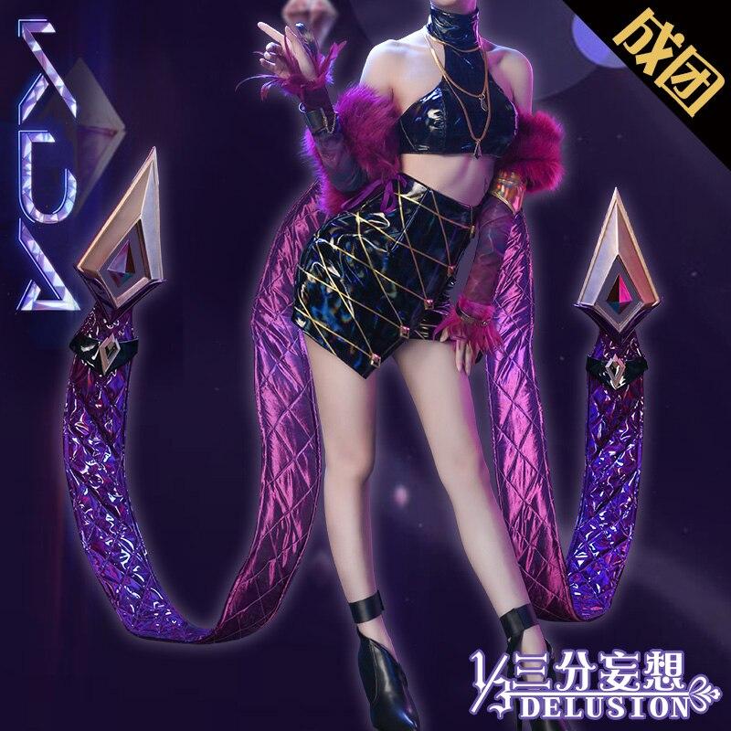 Hot!!! LOL K/DA KDA Kaisa Evelynn Akali  Ahri Cosplay Costume Female Group All Member Uniforms Free Shipping