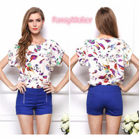 Blouse Shirts Summer Women Casual Chiffon Bird Print Fresh And Cool Batwing Sleeve Blouse Plus Size