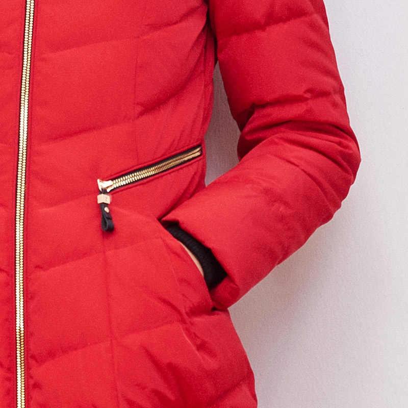 Bosideng Зимний пуховик воротник из натурального меха утепленное пуховое пальто Длинная парка тонкая молния высокого качества B1501224
