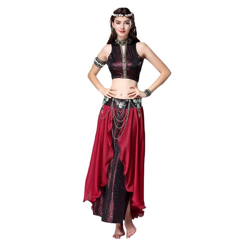 2019 Women Dancewear Costume Set 2pcs Performance Bronze V-neck Top, Skirt With Belt Tribal Bellydance Clothing Vintage