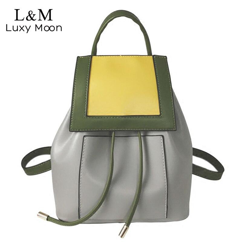 Women Backpack Panelled Drawstring Backpacks Hot Fashion Preppy style PU Leather Travel Bag Teenage Girls School