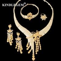 Dubai Heart Jewelry Set Crystal Tassel Flower Gold Color Nigerian Bridal Wedding African Beads Jewellery Parure Bijoux Femme