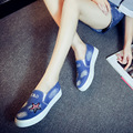 Высокое Качество женские Джинсы Обувь квартиры Мода Повседневная Denim Обувь на Мягкой Подошве Студенты Холст Обувь Дышащей Обуви Новые 6 80