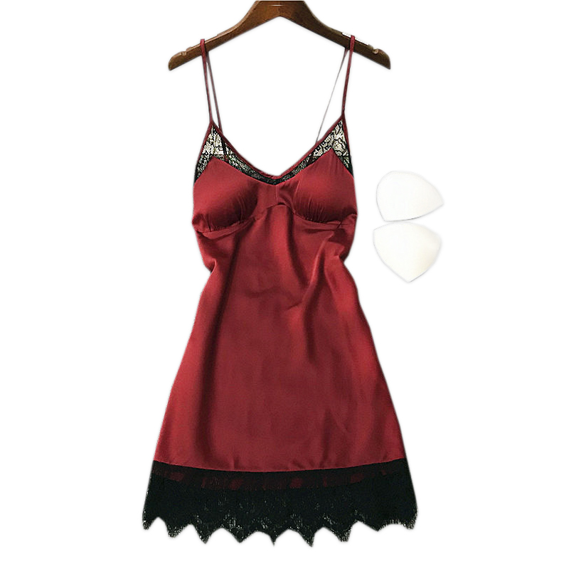 New Korea sexy lace satin silk sleepwear dress womne nightgowns sleepshirts cool ice silk spaghetti strap sleepdress summer
