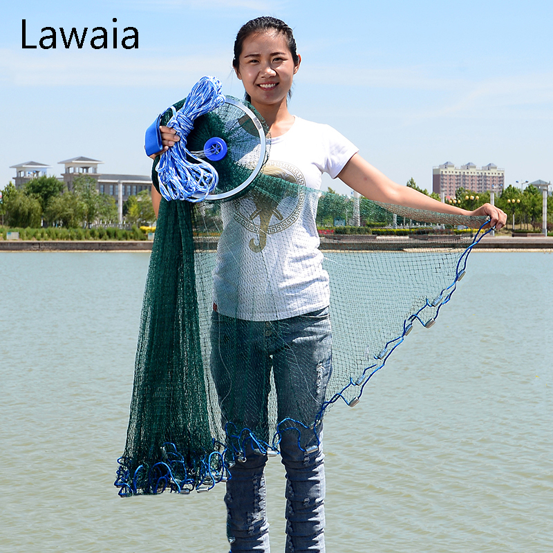 Lawaia Green Fishing Net Four Generation Aluminum Ring Green Netting Cast Net Iron Pendant American Fish Netting Green Outdoor quality gill net h5 l95m 3layer 3 5 and 19cm mesh sink net fish trap sticky fishing net outdoor pesca reservoir fishing network