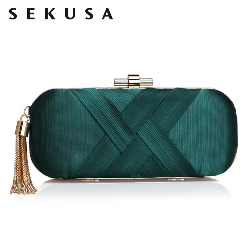 SEKUSA Tassel Fashion Women Clutches Shoulder Chain Lady Handbags Metal Golden Long Design Party Wedding Female Purse Bag