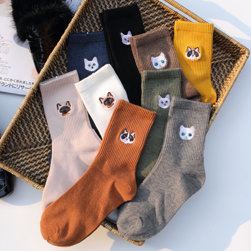 Cartoon Animal Big Head Embroidery Cotton Women   Socks   High End Quality Soft Crew   Socks   Autumn Winter Fashion Kitty Cat   Socks