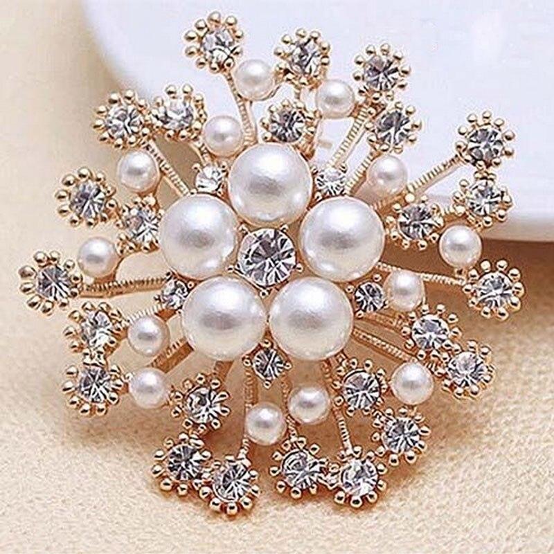 New Arrival Women Charming Snowflake Imitation Pearls Crystal Rhinestone Wedding Party Brooch Pin