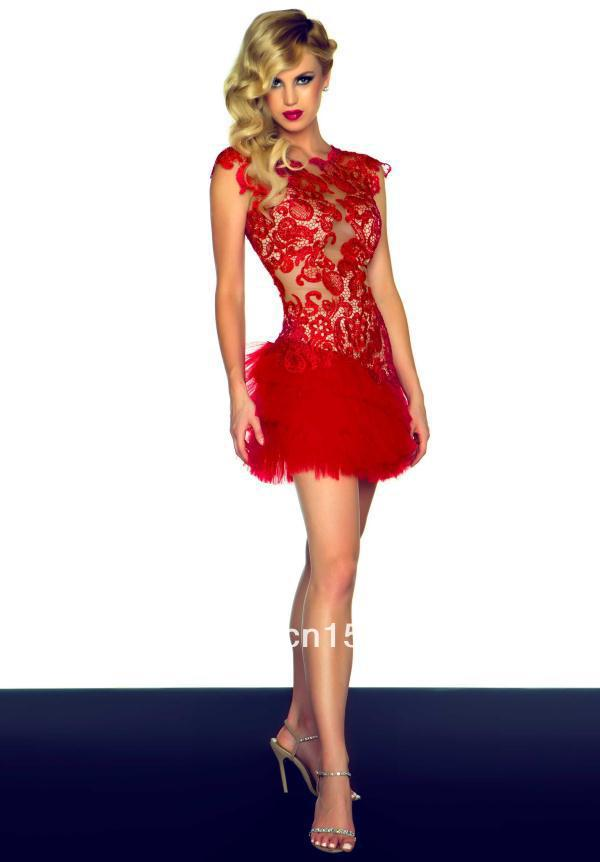 Free Shipping Boat Neck Backless Lace Tulle Red Short Sheath Mini ...