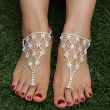 1 Pc Foot Anklet Bridal Accessories Women Sexy Rhinestone Barefoot Sandals,Crystal Anklet ,Beach Foot Toe Jewelry