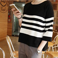 Cheap wholesale 2016 spring Hot selling loose short design female ladies work wear all-match stripe women's fashion T-shirt