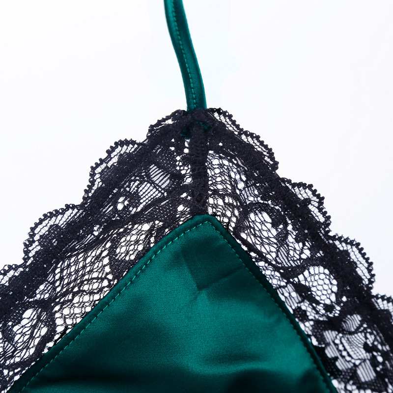 f476e614c4 New Noble Emerald Green Women Underwear Silk Lace Bra   Panty Set Wireless  Triangle Cup Sexy Lingerie Ultrathin Fashion Bralette-in Bra   Brief Sets  from ...