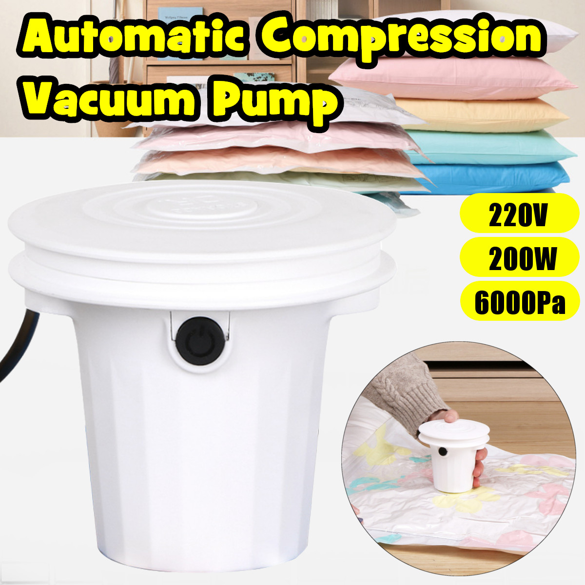 Household  Automatic Vacuum Sealer Pump Machine Compressed Bags Vacuum Compressed Bags Electric Air Pump For Clothes Quilt Food