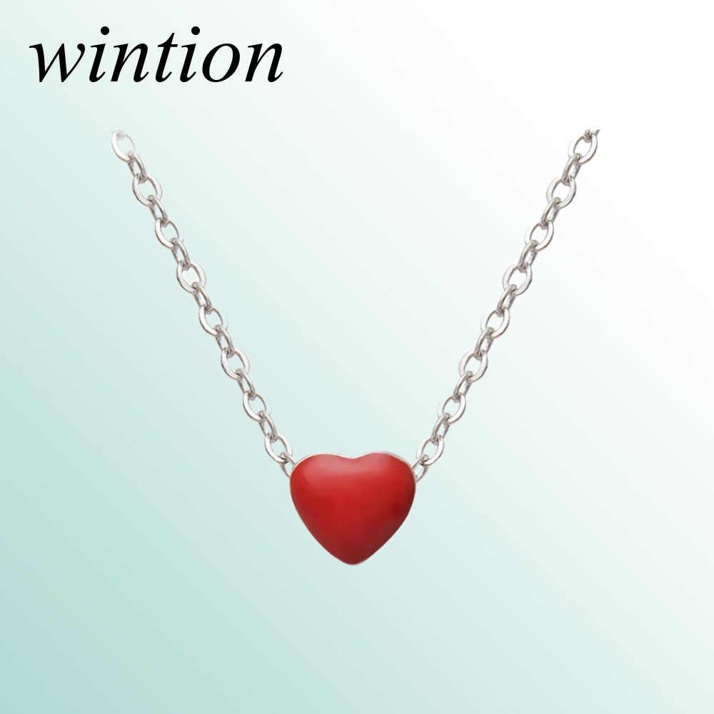 Wintion tiff зеленое ожерелье в форме любви кулон Оригинал 100% стерлингового серебра 925