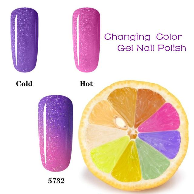 Purple Heat Cold Mood Temperature Changing Nail Gel 10ml Uv Polish Varnish Thermal Color
