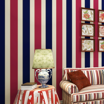 Cheng shuo British wind stripe high-end imports of pure paper The sitting room sofa background wallpaper blue Mediterranean
